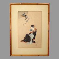"Japanese Woodblock Print by Hosoda Eishi ""Beauty In Summer"""