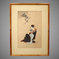 "Japanese Woodblock Print by Hosoda Eishi ""Beauty In Summer"""