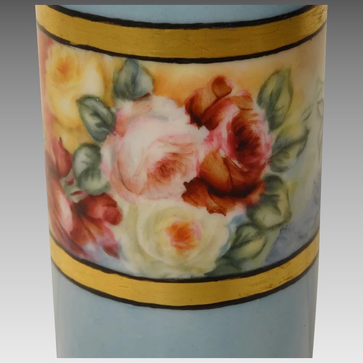 1909 Willets American Belleek Painted Vase With Roses Collectors