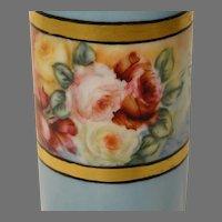 1909 Willets American Belleek Painted Vase with Roses