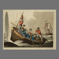 """19th Century Whaling Aquatint by John Heaviside Clark """"Attacking A Whale"""""""