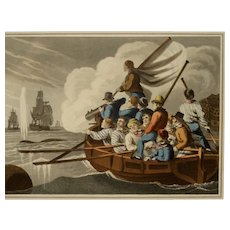 "19th Century Whaling Aquatint by John Heaviside Clark ""Shooting A Harpoon"""