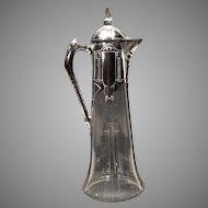 Art Nouveau Jungendstil Wine Pitcher Cut Glass with Metal Mounts