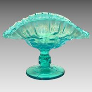 c1910 Dugan Glass Co. Blue Opalescent Banana Stand Pressed Coinspot Pattern