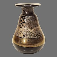 Murano Art Glass Vase in Black Glass with Gold Decoration
