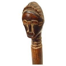 Vintage African Carved Wood Whisk Handle