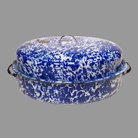 Cobalt Swirl Graniteware Huge Covered Roasting Pan