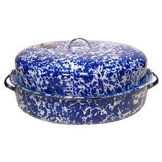 Cobalt Swirl Graniteware Huge Covered Roasting Pan