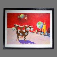 Original Illustration Painting for Brown & Bigelow Humorous Science Fiction Moon Scene