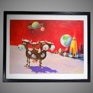 Original Illustration Painting for Brown & Bigelow Humorous Science Fiction Moon Scene