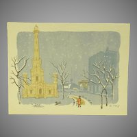 Chicago Water Tower in Winter 1961 Lithograph by Rowena Fry Listed Chicago WPA Artist