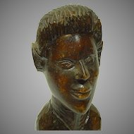 Old Folk Art Carved Wooden Bust of a Well Groomed Man