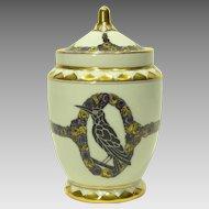 German Porcelain Covered Vase with Raven Decor