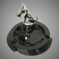 Art Deco Chrome Scottie Dog and Black Glass Ashtray