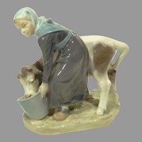 Vintage Royal Copenhagen Girl With Calf Figurine