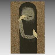 "c1950 Kaoru Kawano Japanese Woodblock Print ""Small Birds"""