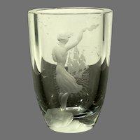 """Kjellander Sweden Engraved Crystal Vase """"Farewell"""""""