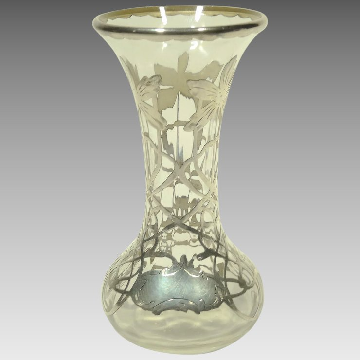 Silver Overlay Clear Glass Vase Collectors Row Ruby Lane