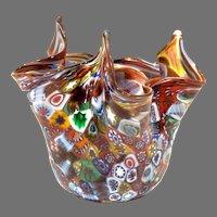 Vintage Fratelli Toso Millefiori Handkerchief Vase