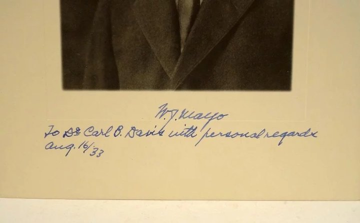 1933 Autographed Photo of W J  Mayo Founder of the Mayo Clinic