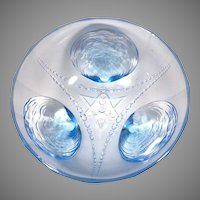 French Art Deco Blue Glass Bowl with Clamshell Feet & Geometric Designs