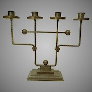 Large Secessionist Wrought Iron Candelabra