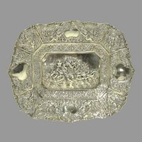 Antique 800 Silver Pierced & Repousse' Tray with Cherubs & Roses