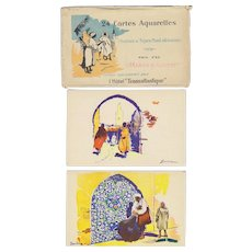 Artist Signed Sandoz North African Scenes & Types 24 Postcard Set with Wrapper