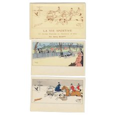 "Harry Eliott ""La Vie Sportive"" Artist Signed 10 Postcard Set with Wrapper"