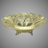 Vintage Sterling Silver Repousse Bowl with Roses