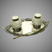 c1897 English Silver Plate & Glass Inkwell by James Dixon & Sons with Dip Pen