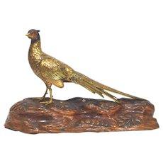 Meiji Period Japanese Bronze Pheasant Figure on Wood Base