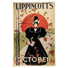 Rare 1895 Lippincott's Art Nouveau Poster by Will Carqueville