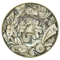 19th Century Cantagalli En Grisaille Faience Charger with Musical Motifs