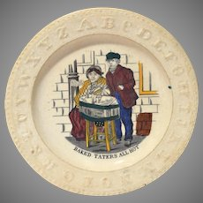 """Rare Staffordshire ABC  Plate """"Baked Taters All Hot"""""""