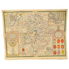 "17th Century John Speed Map ""The County of Warwickshire"""