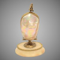 Antique French Mother of Pearl Egg Mechanical Perfume Bottle Holder