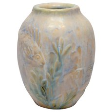 1930s Art Deco Denby Danesby Ware Fishes Art Pottery Vase
