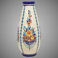 """Huge 12.5"""" Charles Catteau Boch Freres Art Deco Pottery Vase"""