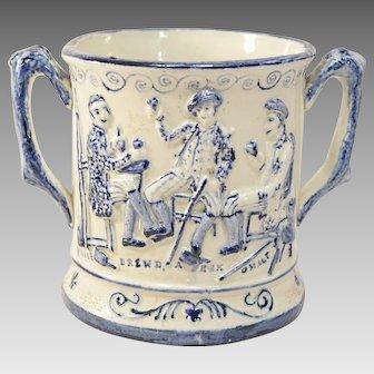 Unusual Staffordshire Blue & White Pottery Frog Mug