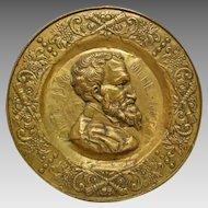 Michelangelo Repousse' Brass Portrait Plaque