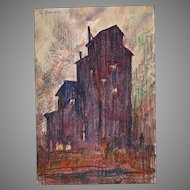 1930 Mixed Media Painting St Louis Water Tower by Leland E. Hammel