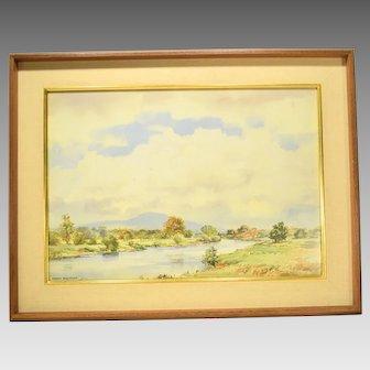 Irish Watercolor by Frank Egginton RCA River Landscape
