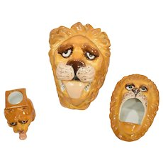 Whimsical Lion Austrian Porcelain Smoking Set