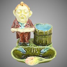 """The Singer"" Antique Majolica Figural Match Striker / Holder / Ashtray"