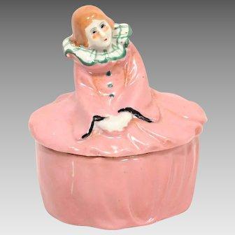 Art Deco Pink Costume Porcelain Lady Vanity, Jewelry Box