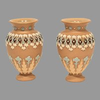 Pair of Doulton Lambeth Silicon Ware Aesthetic Vases