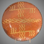 19th c. Pennsylvania Redware Plate w/ Yellow Slip Decoration