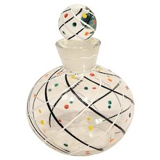 Art Deco Enameled Glass Perfume Bottle