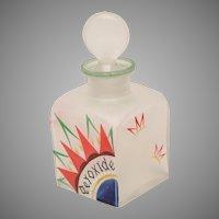 """Czech Art Deco Enameled Dresser Bottle """"Peroxide"""""""